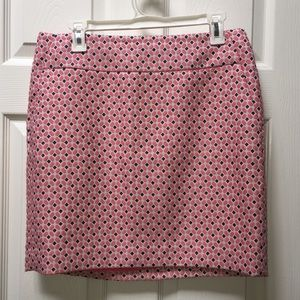 Ann Taylor pink patterned skirt SZ 8